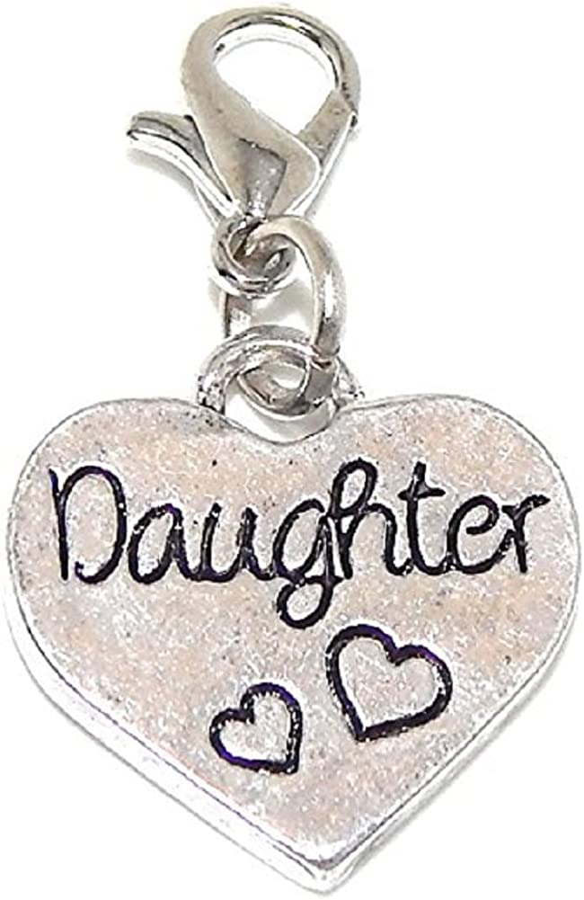 GemStorm Silver Plated Dangling Daughter Heart Clip On Lobster Clasp Charm