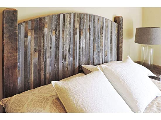Modern Farmhouse Style Arched Queen Size Bed Headboard with Narrow Weathered Reclaimed Wood Slats, Rustic Contemporary Country Bedroom Furniture Sets. All BarnWood W Legs