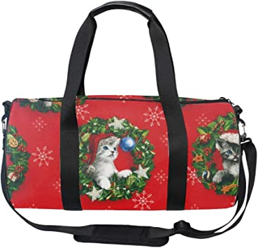 Red And White Cat Sports Gym Bag with Shoes Compartment Travel Duffel Bag for Men and Women