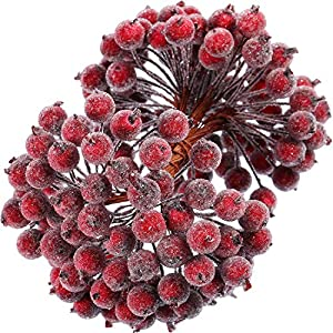 Tatuo Artificial Frosted Holly Berries Fake 12 mm Mini Christmas Fruit Berry Flower Decor (Dark Red, 400)