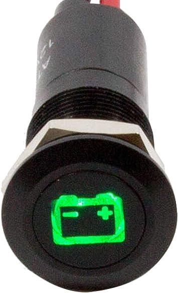 Alpinetech PLB8MS 8mm 5//16 12V LED Metal Signal Indicator Pilot Dash Light Black Bezel with Symbols Battery Warning