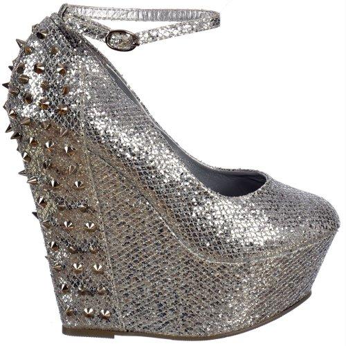 Plate Sangle Pointes D'argent Dames Onlineshoe Cheville Wedge Brillant Argent Argent forme Paillettes Clous Womens Chaussures Et UxOnvOY