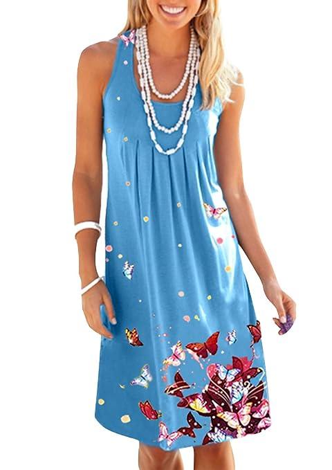 BestWahl Damen Sommerkleid Böhmen Blumen Lose Minikleid Beach Tunika Kleid Ärmellos Strandkleid Partykleid Shirt Kleid 34 36