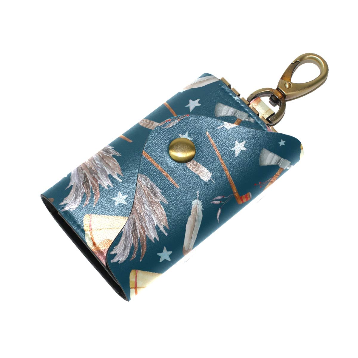 KEAKIA Watercolor Tribal Pattern Leather Key Case Wallets Tri-fold Key Holder Keychains with 6 Hooks 2 Slot Snap Closure for Men Women