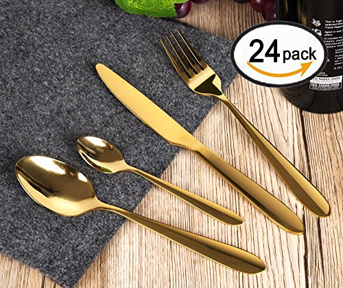 - ROSE CREATE 24-Piece Gold Stainless Steel Cutlery Set, Dinner Serving Tableware Golden Flatware Set/Eating Utensils - 12 Spoons, 6 Forks, 6 Knives(24 pcs Gold Knives and Forks, 6 Sets)