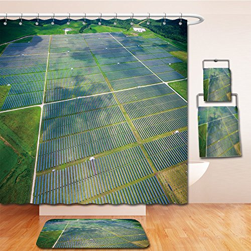 Beshowereb Bath Suit: Showercurtain Bathrug Bathtowel Handtowel aerial view over solar panel farm outside of austin texas in webberville a megawatt power - Premium Texas Austin Outlet