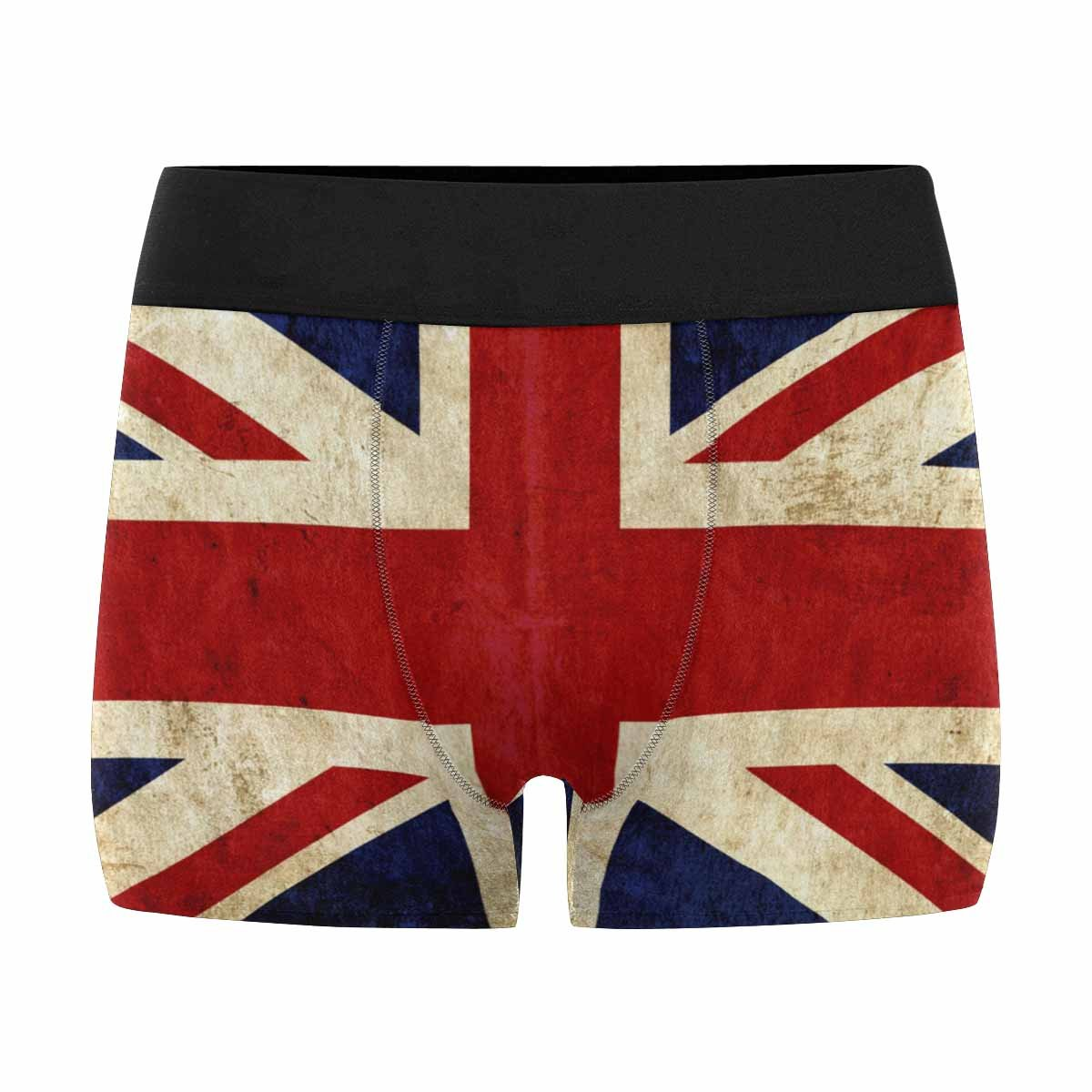 INTERESTPRINT Custom Mens All-Over Print Boxer Briefs Grungy Paper Flag of Great Britain XS-3XL