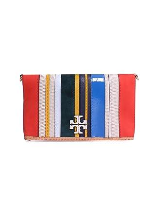 a023d0154e45 Amazon.com  Tory Burch McGraw Stripe Leather Foldover Crossbody Handbag in  Balloon Stripe  Clothing