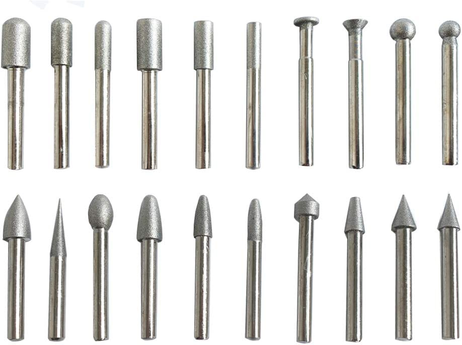 Set of 20 1//4 Shank Diamond Coated Grinding Burrs Sets 60 Grit Diamond Mounted Points Carving Bits Grinding Bits Grinding Head for Dremel Rotary Tool