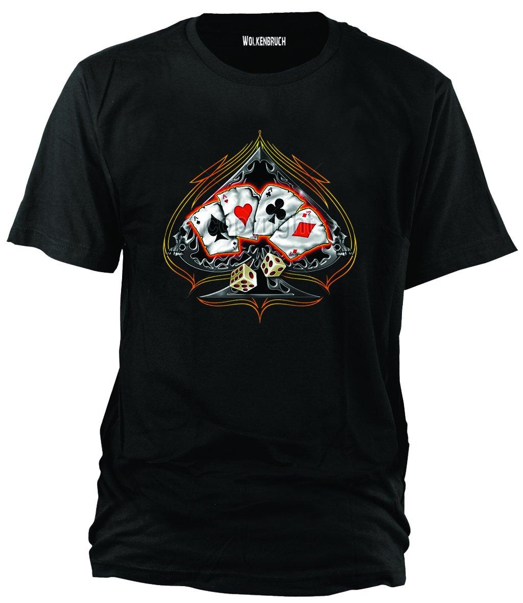 Sputnik Shirts - Maglietta Four of a Kind Poker con carte da gioco, disponibile in diversi colori, taglie S-5XL