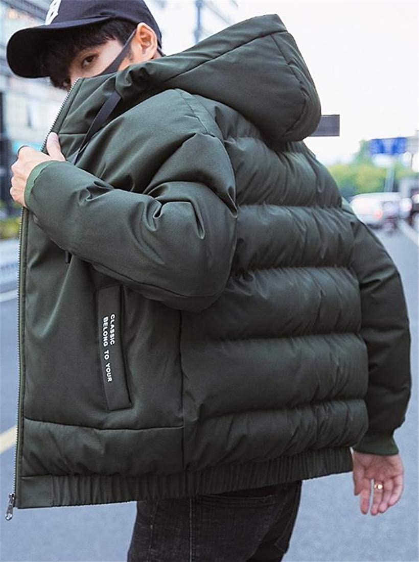 Sweatwater Mens Loose Fit Quilted Winter Contrast Color Hooded Parka Coat Jacket