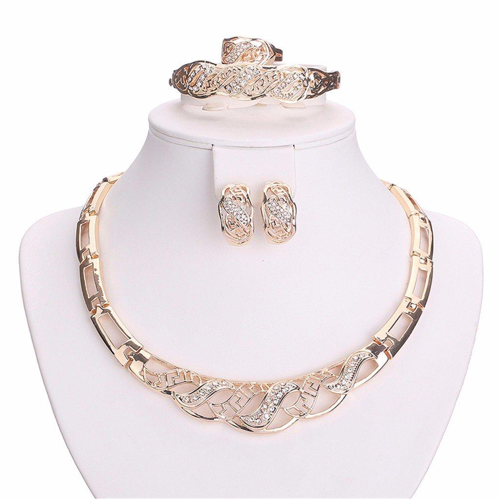 moochi 18K plaqué or cristal intégré creux chaîne collier/boucles d'oreilles/Bracelet/Bague de bijoux JS-4134
