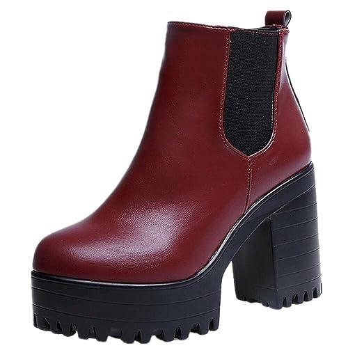 FEITONG Mujer Botas Cuadrado Tacón plataformas Cuero Muslo Bomba Botas Zapatos (38, Rojo)