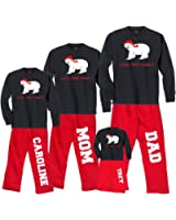 Personalized Holiday Polar Bear Christmas Pajama Pant Set - Custom Name For Whole Family