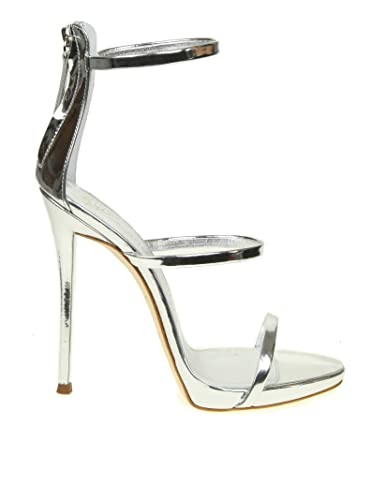4a627199a6d Image Unavailable. Image not available for. Color  Giuseppe Zanotti Design  Women s I700049025 Silver Leather Sandals