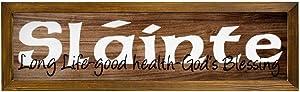 DONL9BAUER Slainte Long Life Good Health Gods Blessing Wooden Framed Sign Irish Saying Wall Hanging Modern Rustic Farmhouse Decor Wall Art for Kitchen Living Room