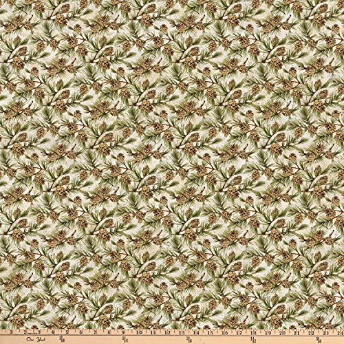 Northcott Algonquin Flannel Pinecones Multi Fabric, Beige, Fabric By The Yard ()