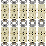 Duplex Receptacle Outlet Enerlites 61580-TR-I Residential and Commercial Electrical Socket, Tamper Resistant, Self-Grounding, Heavy-Duty, 2-Pole, 15A/125VAC, UL Listed | ivory - 10 Pack