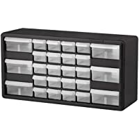 $26 » Akro-Mils 26 Drawer 10126, Plastic Parts Storage Hardware and Craft Cabinet, (20-Inch W x 6-Inch D x 10-Inch H), Black