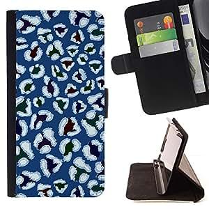 For Samsung Galaxy S5 Mini (Not S5), SM-G800 Case , Estilística Azul Blanco Flores- la tarjeta de Crédito Slots PU Funda de cuero Monedero caso cubierta de piel