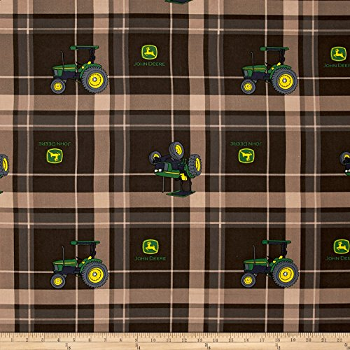 Springs Creative Products John Deere Tractor Plaid Brown Fabric by The Yard