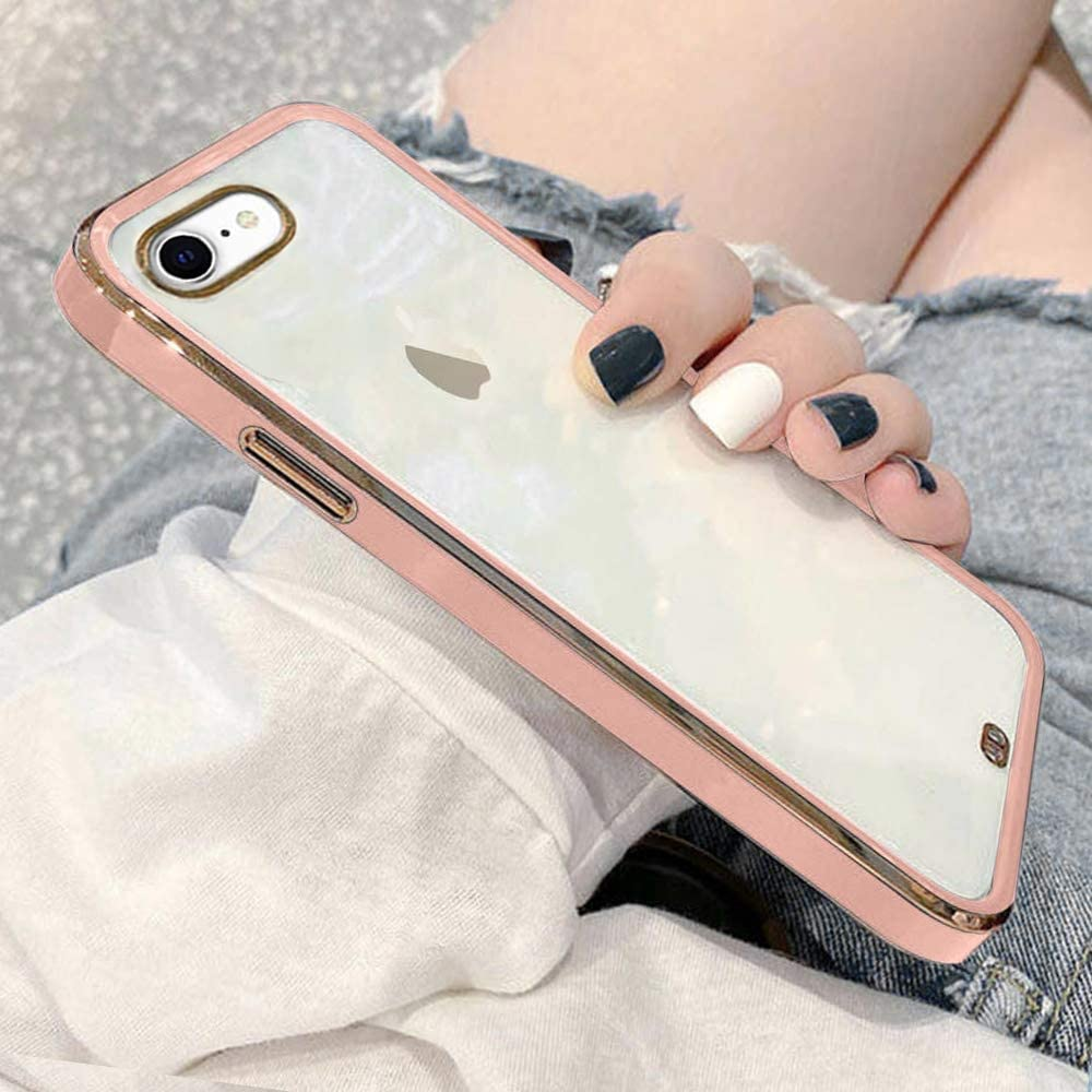 Urarssa Case Compatible with iPhone 7 Plus iPhone 8 Plus Crystal Clear Transparent Design Back Bumper Shockproof Slim Fit Soft TPU Silicone Protective Phone Case Cover for iPhone 7 Plus/8 Plus, Pink