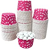 Candy Nut Mini Baking Paper Treat Cups - Hot Pink White - Polka Dot - Bulk 100 Pack
