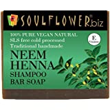 Soulflower Neem Henna Shampoo Bar Soap, 150g