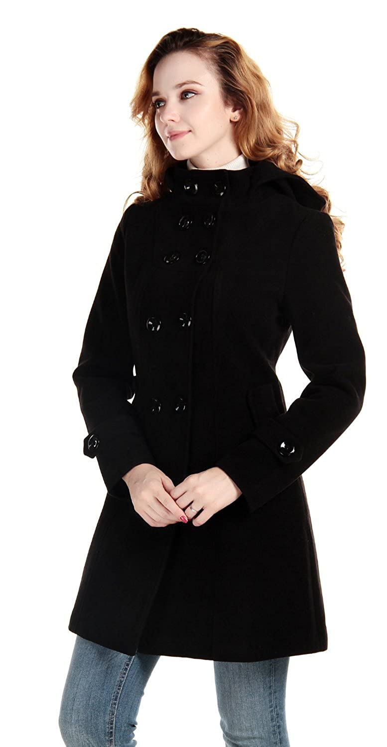 Simplicity® Women's Double-Breasted Wool Blends Coat High Collar Hoodie, BlackL