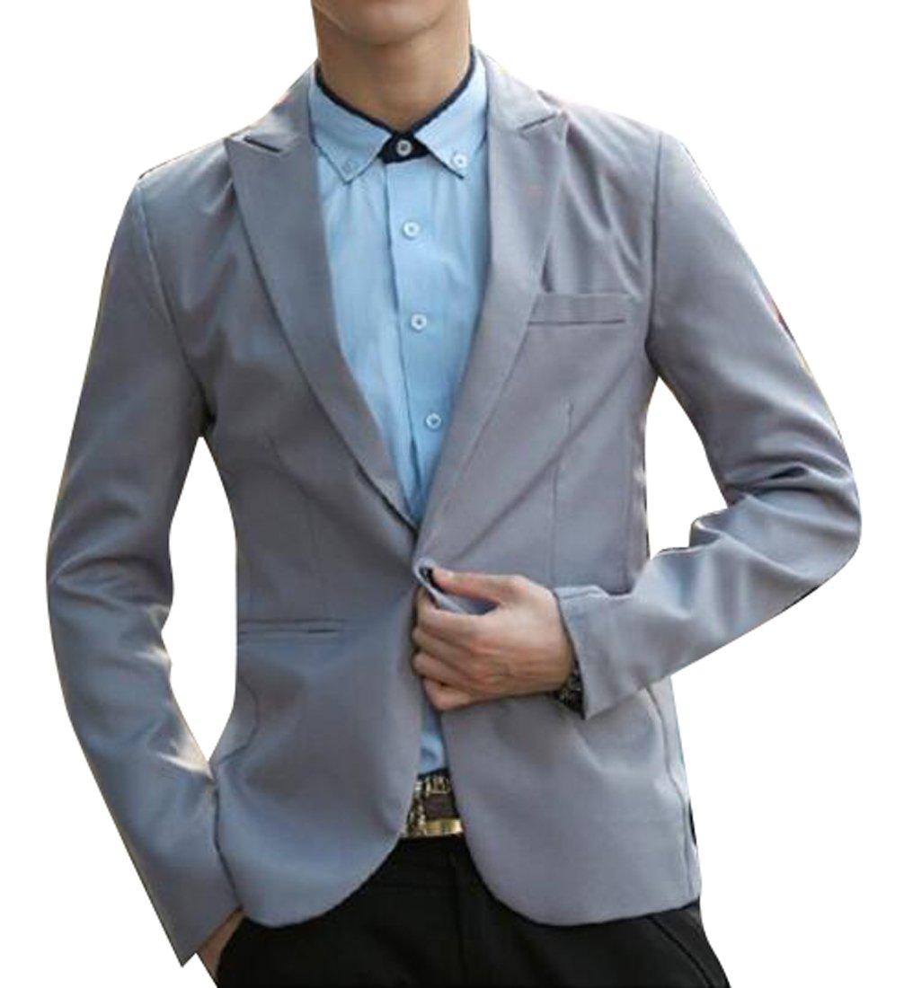Jofemuho Men Formal Slim Wedding Party Solid 1 Button Jeans Denim Pants XS Grey