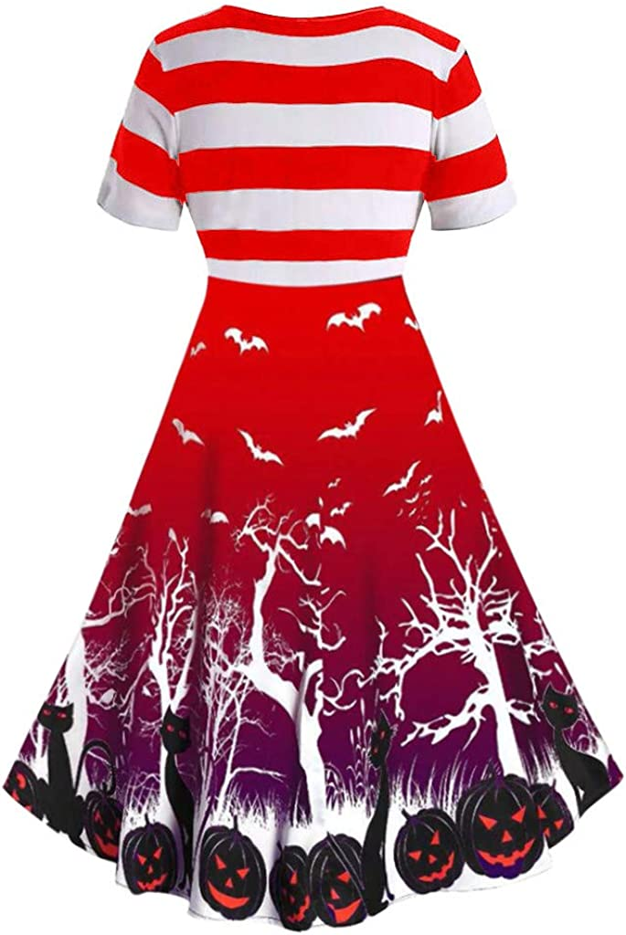Long Dresses for Women,Women Vintage Short Sleeve V Neck Halloween Housewife Print Knotted V Back Dress