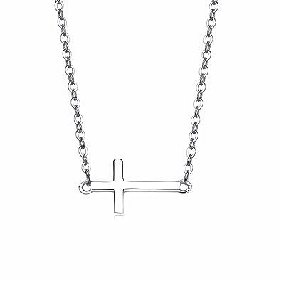 9251000 Simple Everu Avec Femme Argent Croix Horizontale Collier En dxoeBrC
