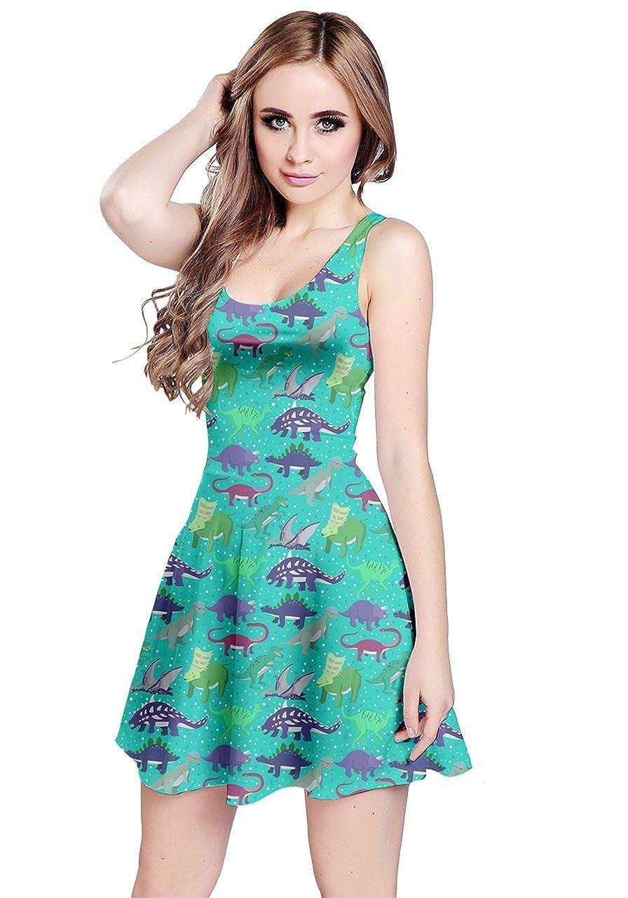 f783d3c9b09280 CowCow Womens Dinosaur Tyrannosaurus Stylish Party Summer Sleeveless Dress