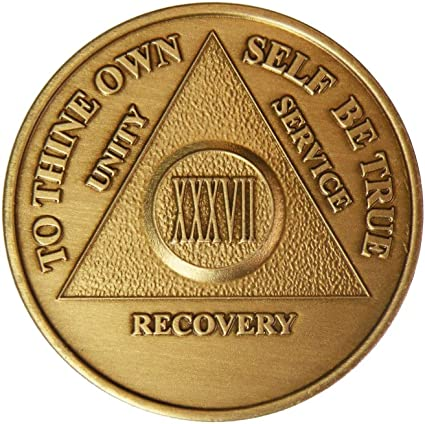 AA 26 Year Chip Bronze Alcoholics Anonymous Coin Bigger Design with Coin Capsule