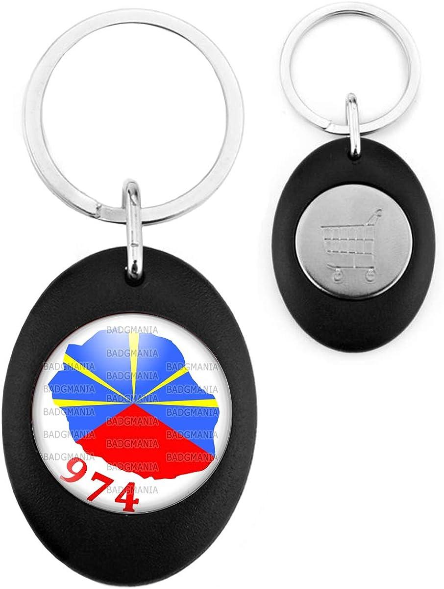 Porte-Cl/és Noir Ovale Jeton Caddie Ile de la R/éunion 974 Drapeau R/éunionais Flag Embl/ème France