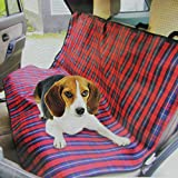 """Speedy Pet 55"""" Red Plaid Rugged Canvas Water Resistant Pet Car Seat Protective Cover"""
