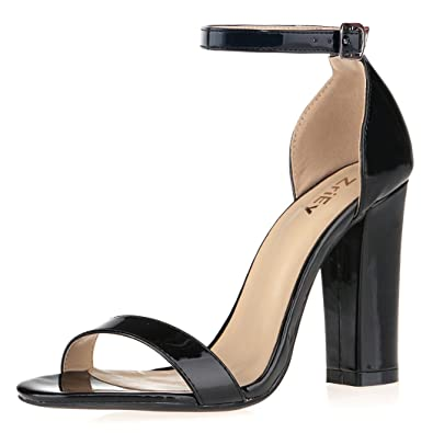 a5b790270527 ZriEy Women s Chunky Block Strappy High Heel Pump Sandals Fashion Ankle  Strap Open Toe Shoes Black