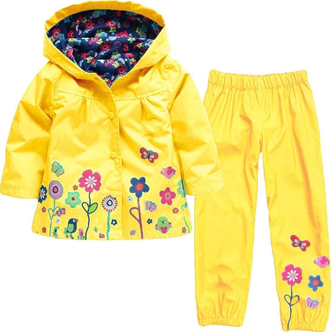 Huicai Girls Cute Flower Windproof Hooded Jacket Raincoat Waterproof Pants Suit
