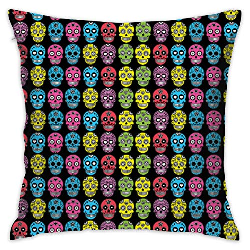 WHYG0 Ultra Soft & Cool Throw Pillow Protector Zipper Pillowcase Protector Home Decorative for Bed Sofa Chair Party Bedroom, Hotel Luxury - Halloween Mexican Sugar Skull