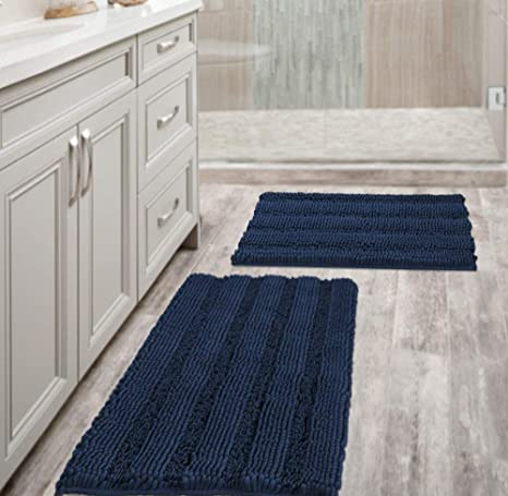 Amazon Com Navy Blue Bathroom Rugs Slip Resistant Extra Absorbent Soft And Fluffy Striped Bath Mat Set Chenille Bath Rugs Floor Mats Dry Fast Machine Washable Set Of 2 20 X 32 17 X