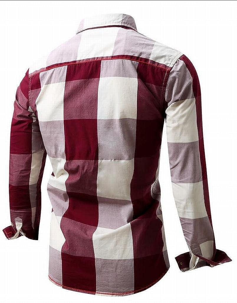 Beloved Men Autumn Slim Fit Buffalo Plaid Dress Shirt Top
