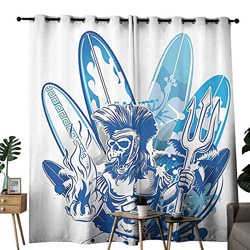 duommhome Surfboard Decor Collection Polyester Curtain Poseidon Death Surfer on Surfboard Skull Ancient Titan Mythology Myth Pitchfork Image Curtains are Long Lasting W72 xL62 Navy Blue