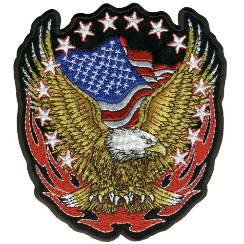 Hot Leathers Eagle Flag And Stars Patch (11 Width x 12 Height) by Hot Leathers   B006P86ZEQ