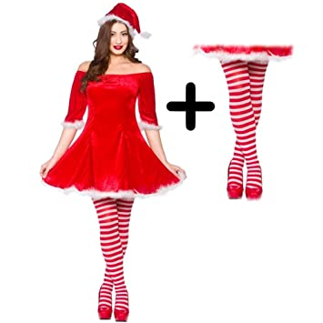 311acdf12af09 Wicked Wicked Mrs Sweet Santa Claus + Tights Ladies Fancy Dress Christmas  Womens Adult Costume: Amazon.co.uk: Toys & Games