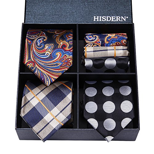 HISDERN Lot 3 PCS Classic Men's Tie Set Necktie & Pocket Square Elegant Neck Ties Collection,T3-03,One Size