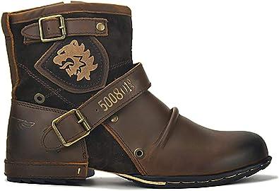 Botas para Moto Botines Hombre de Invierno Piel Zapatos Negras ...