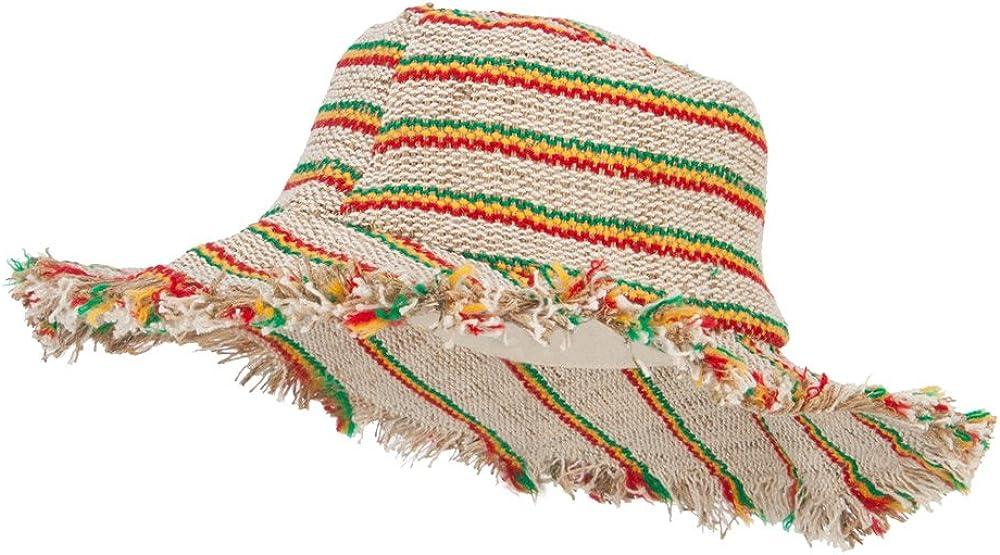 Hemp Hat With Rasta Stripes