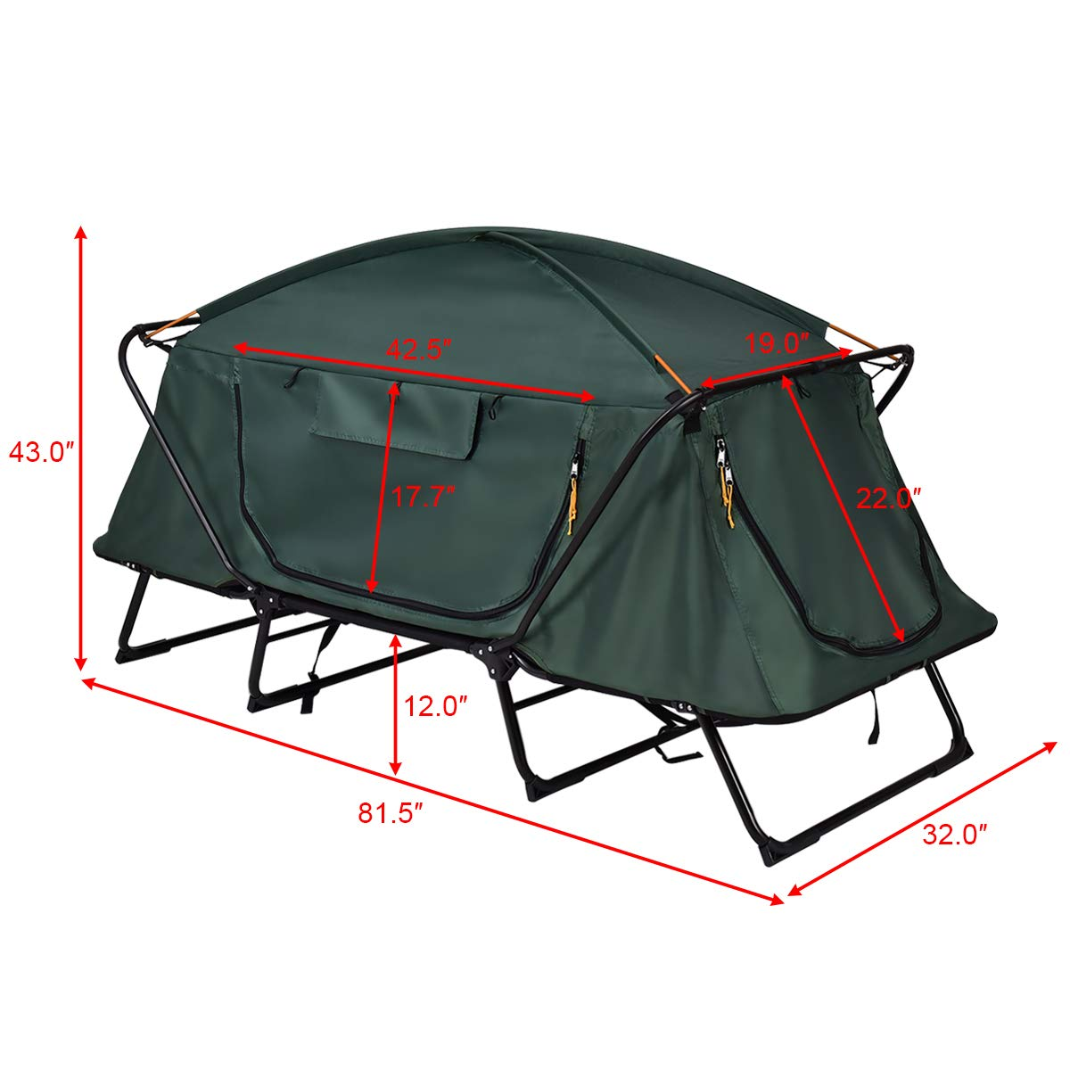 GYMAX Tent Cot, 1 Person Foldable Camping Waterproof Shelter with Window Carry Bag by GYMAX (Image #1)