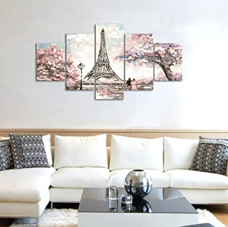 Visual Art Decor Couple on Fancy Pink and Purple Blossoming Paris Street Eiffel Tower Scenery Picture Painting Printed on Canvas Stretched Ready to Hang Home Wall Art Decor Gifts