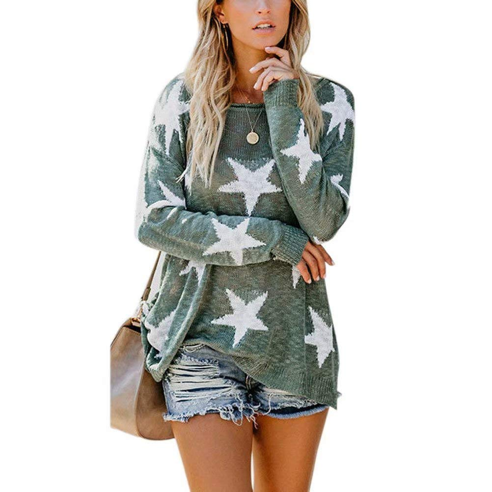 Goocheer Womens Casual Loose Pullover Sweaters Off Shoulder Knit Jumper Stars Pattern Tops